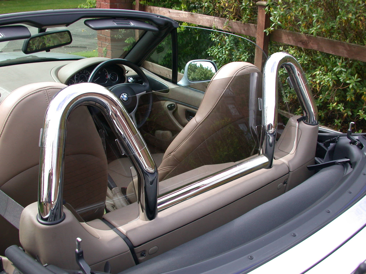Bmw Z3 Wind Deflector Tinted To Fit Dual Chrome Hoops Roll Bars Not Included Ebay
